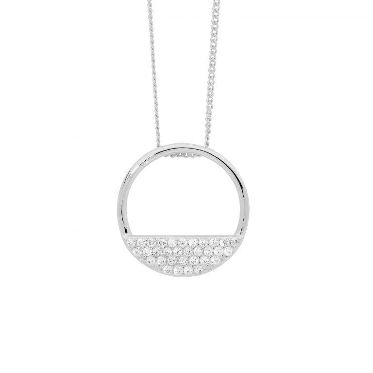 Sterling Silver 28mm Open Circle Pendant, 3 rows  Cubic Zirconia