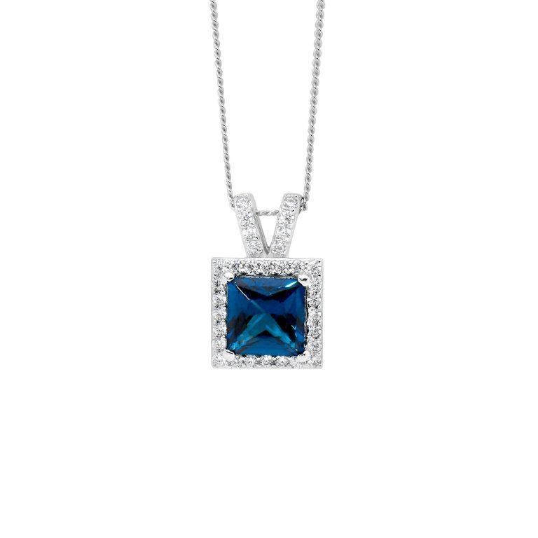 Sterling Silver London Blue 7mm PrinceSterling Silver Cubic Zirconia ,  Cubic Zirconia Surround w/ Split Bale Pendant