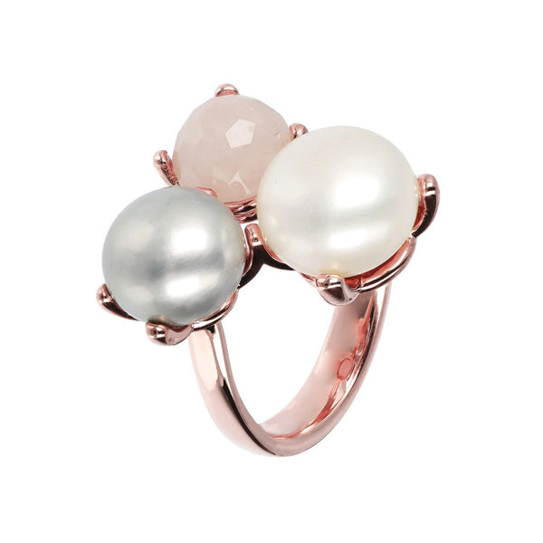 Bronzallure Pearl And Quartz Trilogy Ring