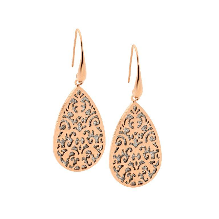 Stainless Steel Filligree Tear Earrings w/ Shimmer Back & Rs Gold IP Plating