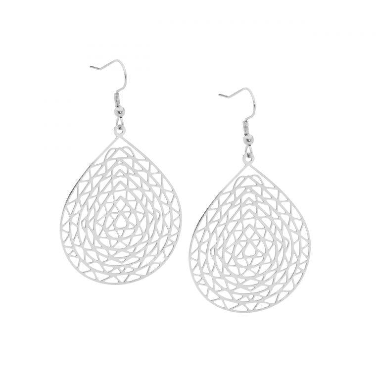 Stainless Steel Abstract Large Tear Drop Earrings