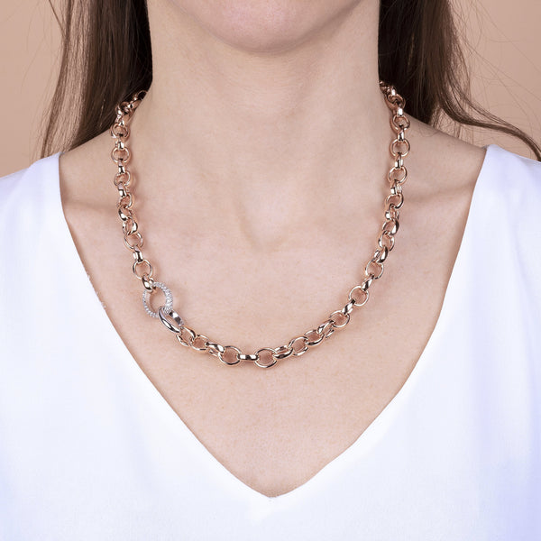 Bronzallure Pave Link Necklace