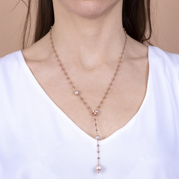 Bronzallure Pearl Lariat Necklace