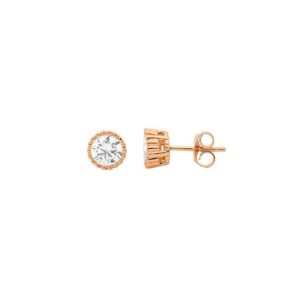 18ct Rose Gold Plated Sterling Silver 4mm Cubic Zirconia Stud Earrings