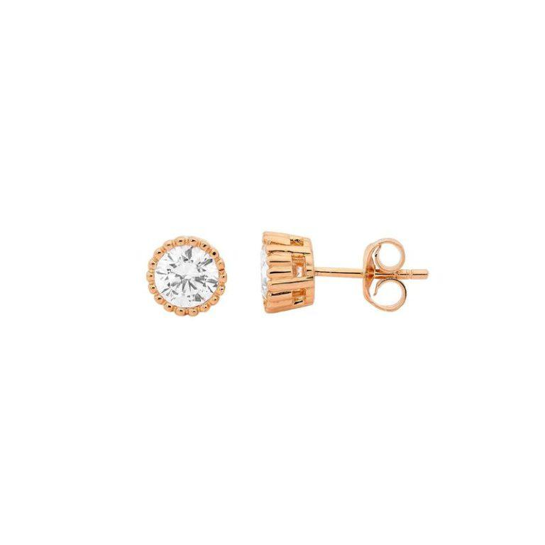 18ct Rose Gold Plated Sterling Silver 5mm Cubic Zirconia Stud Earrings