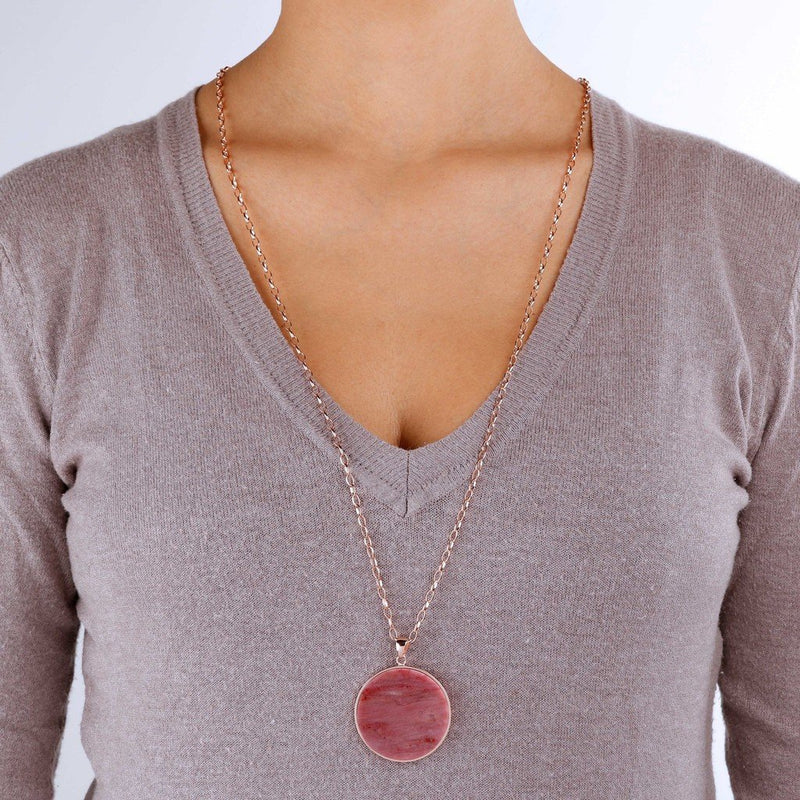 Bronzallure Red Fossil Wood Big Disc Necklace