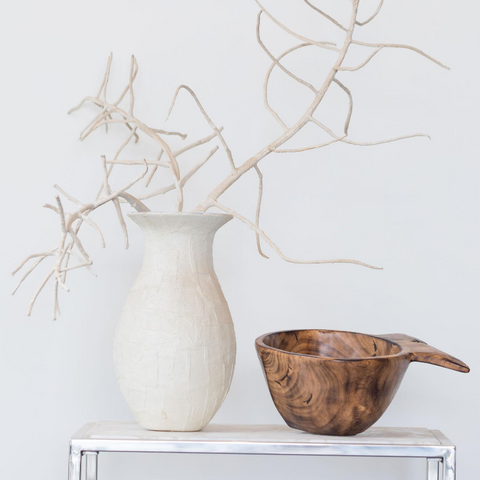 Handmade Smoked Jacaranda and Olive Wood Fish Bowl