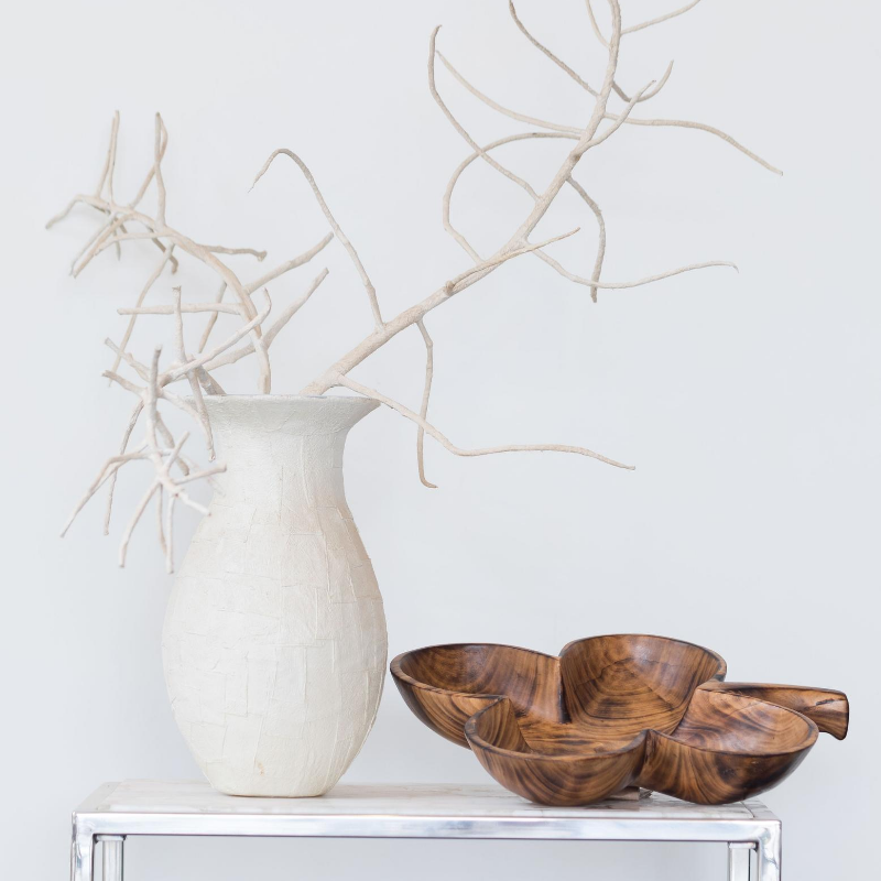 Handmade Smoked Jacaranda and Olive Wood Leaf Bowl