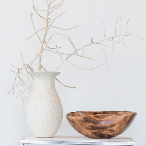 Handmade Smoked Jacaranda and Olive Wood Oval Bowl - Big