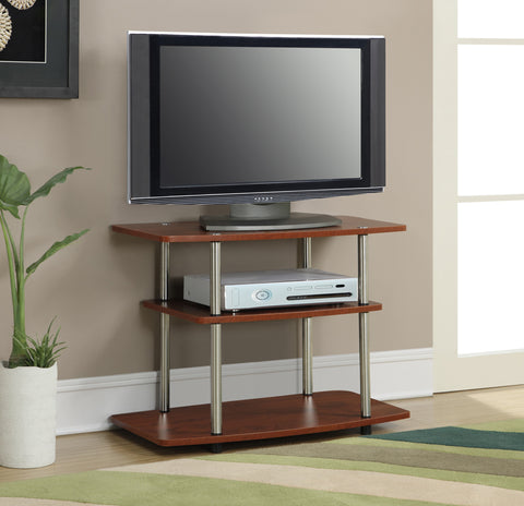 Modern Three Tier Flat Screen TV Stand in Cherry