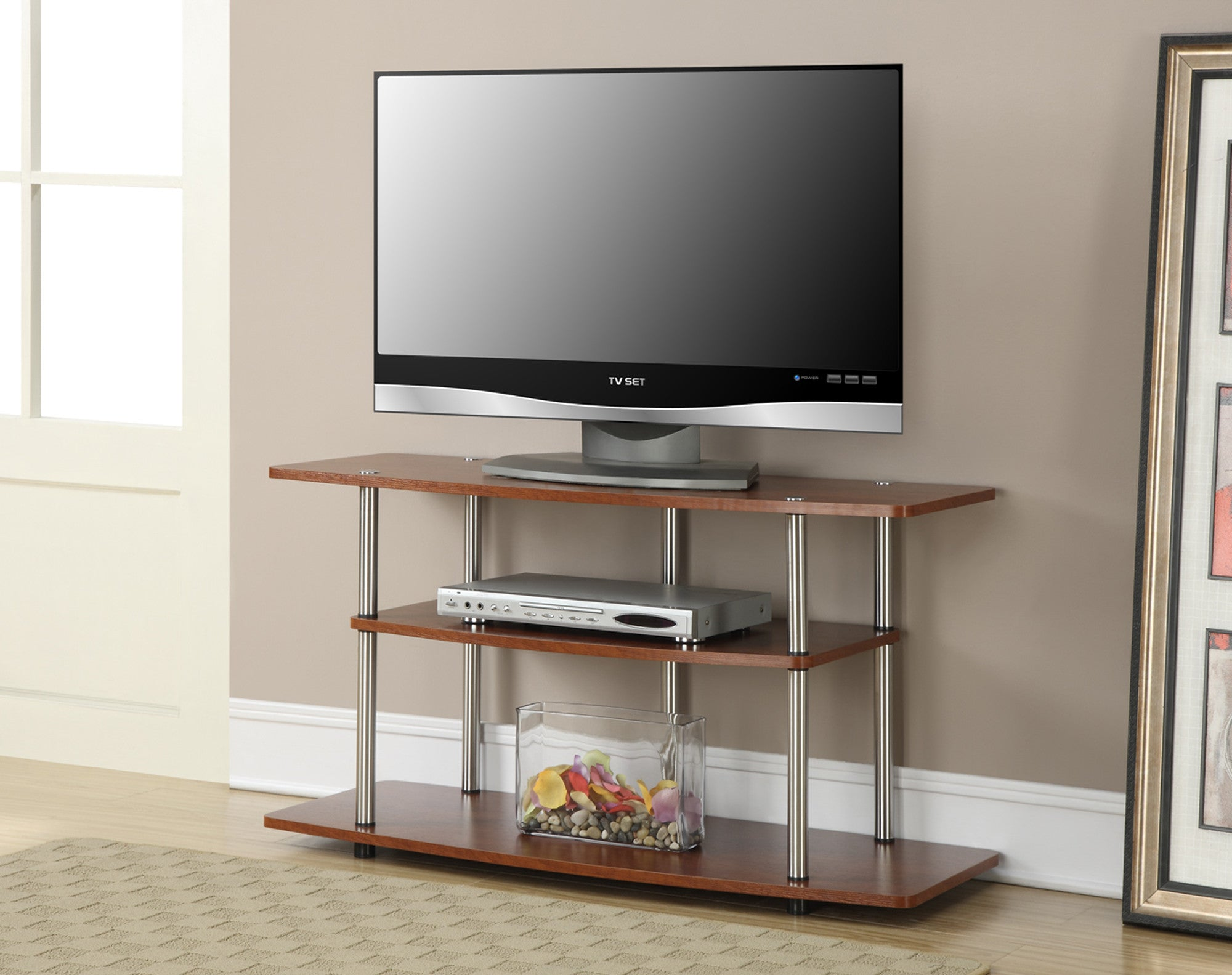 42 modern cherry flat screen tv stand with three tiers. Black Bedroom Furniture Sets. Home Design Ideas
