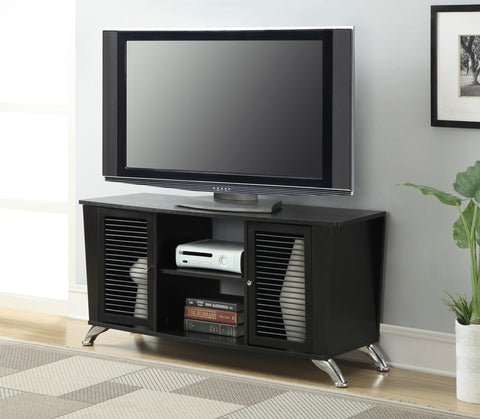 "Sleek Black 47"" Modern TV Stand with Air Ventilation"