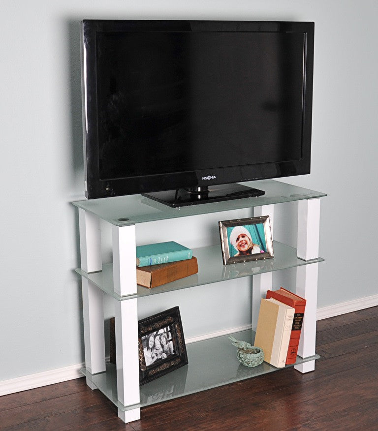 Modern White Glass TV Stand with Shelves