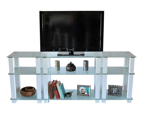 "75"" Wide Bedroom Height White Glass & Aluminum Flat Screen Stand"