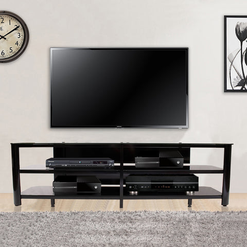 "83"" Extra Wide Modern Black Glass & Steel Flat Screen Stand"