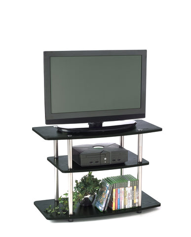Black Three Tier Stand with Stainless Steel Supports