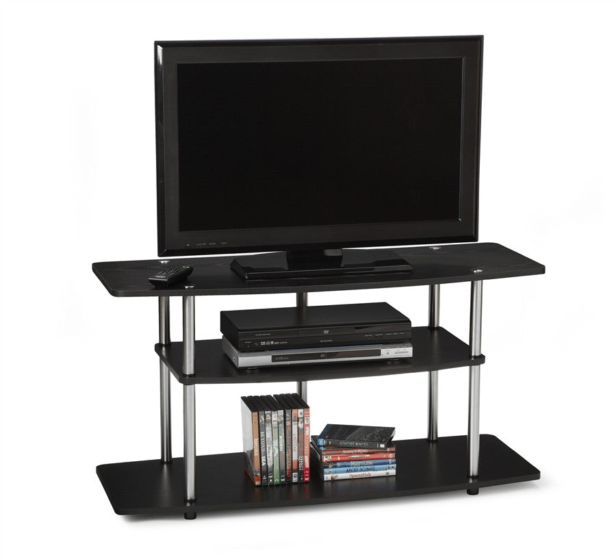 Black Wide Three Tier Stand with Stainless Steel Supports