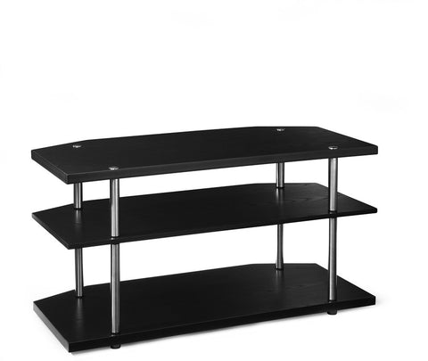 Black & Stainless Steel Modern Corner Flat Screen Stand