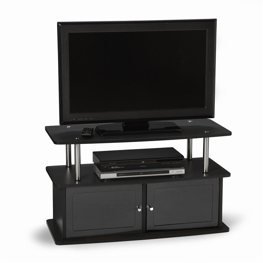 Premium Black Stand with Stainless Steel Accents & Framed Doors
