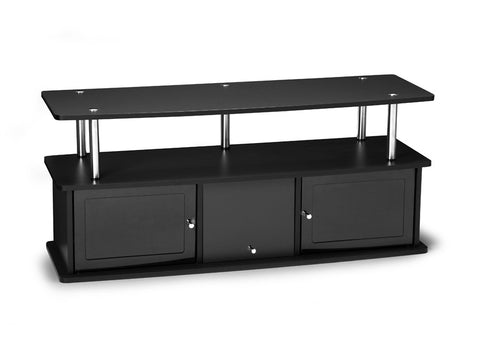 Black Flat Screen Stand with Stainless Steel Accents & Three Doors