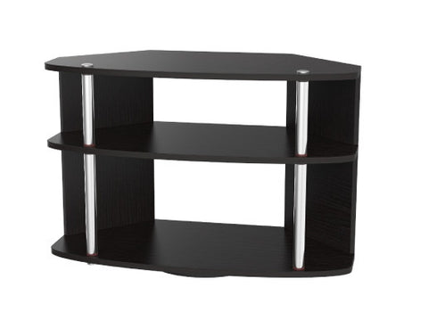 Modern Black Swivel TV Stand with Stainless Steel Supports