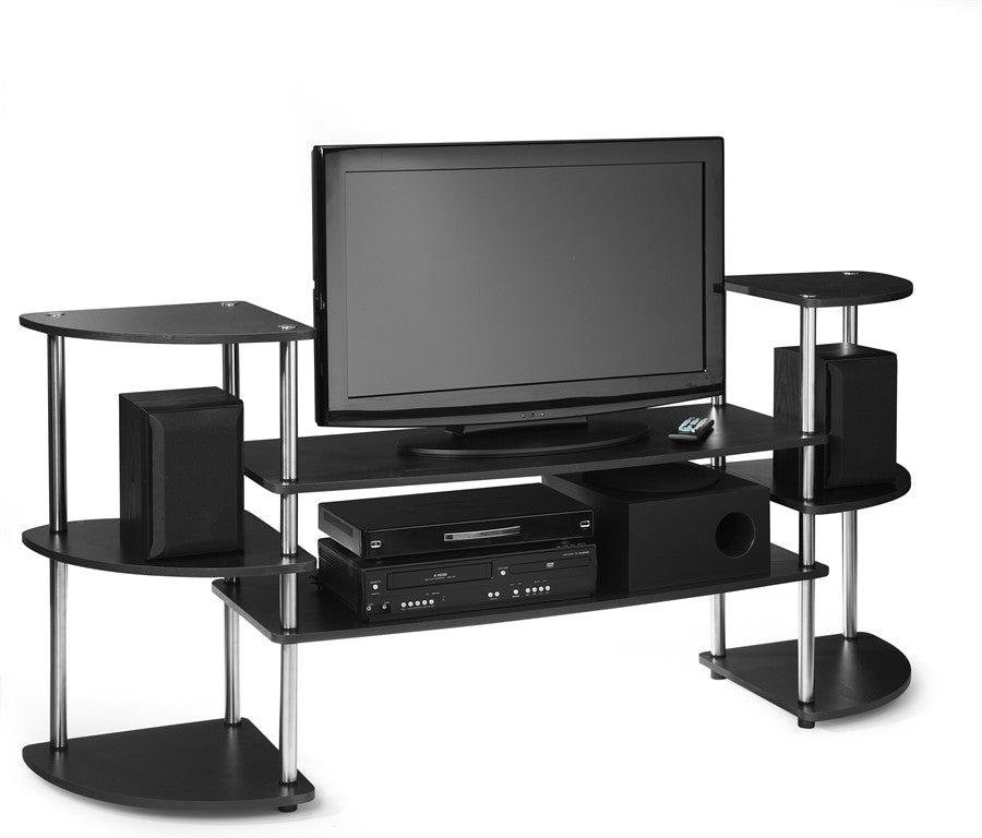 Black Stainless Steel Flat Screen Stand With Side Towers Tvstand Com