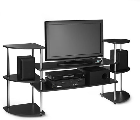Black & Stainless Steel Flat Screen Stand with Side Towers