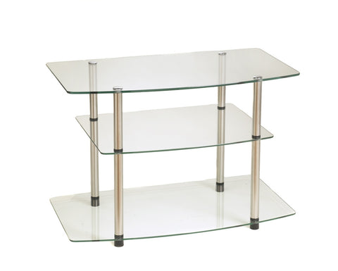 Modern Tempered Glass & Stainless Steel Flat Screen Stand