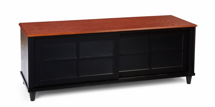 "French Country 60"" TV Stand with Sliding Doors in Black & Cherry"