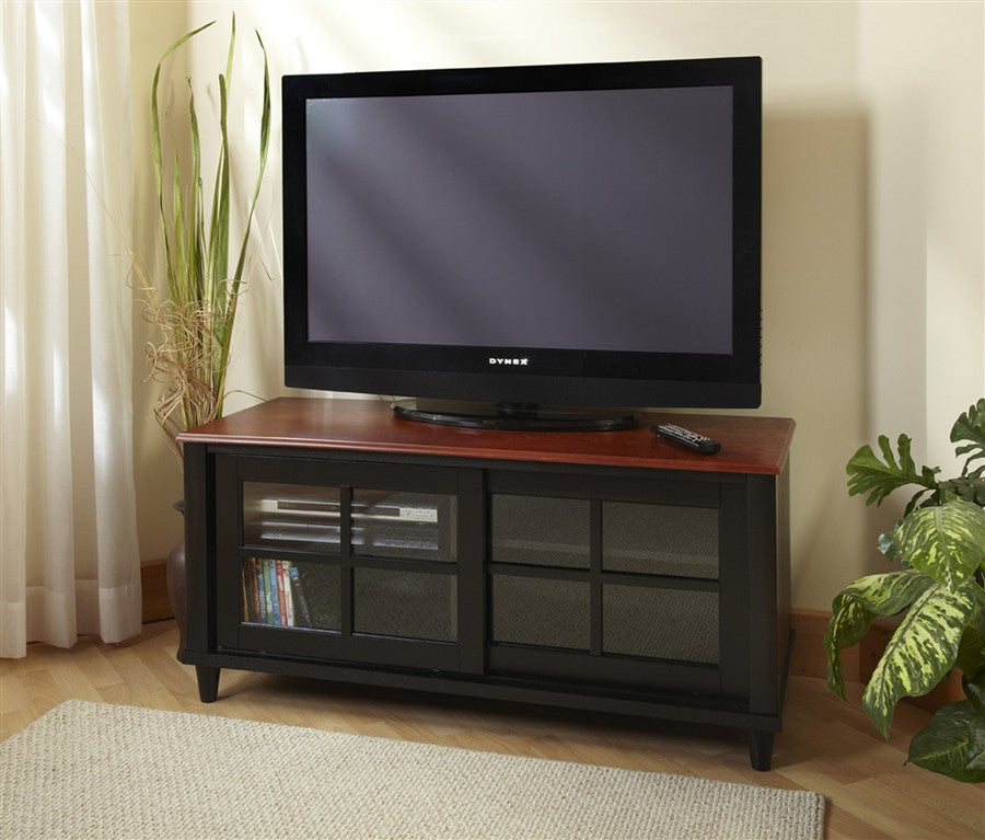 french country tv stand with sliding doors in black u0026 cherry