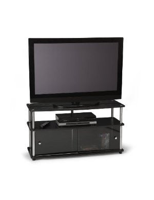 Black & Stainless Steel Plasma or Flat Screen Stand with Sliding Glass Doors