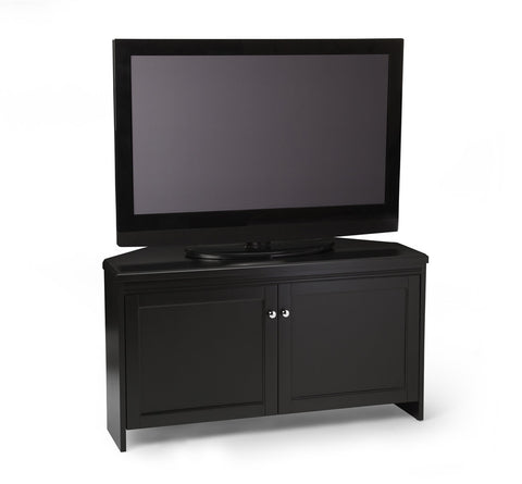 Elegant Black Corner Flat Screen Stand with Storage