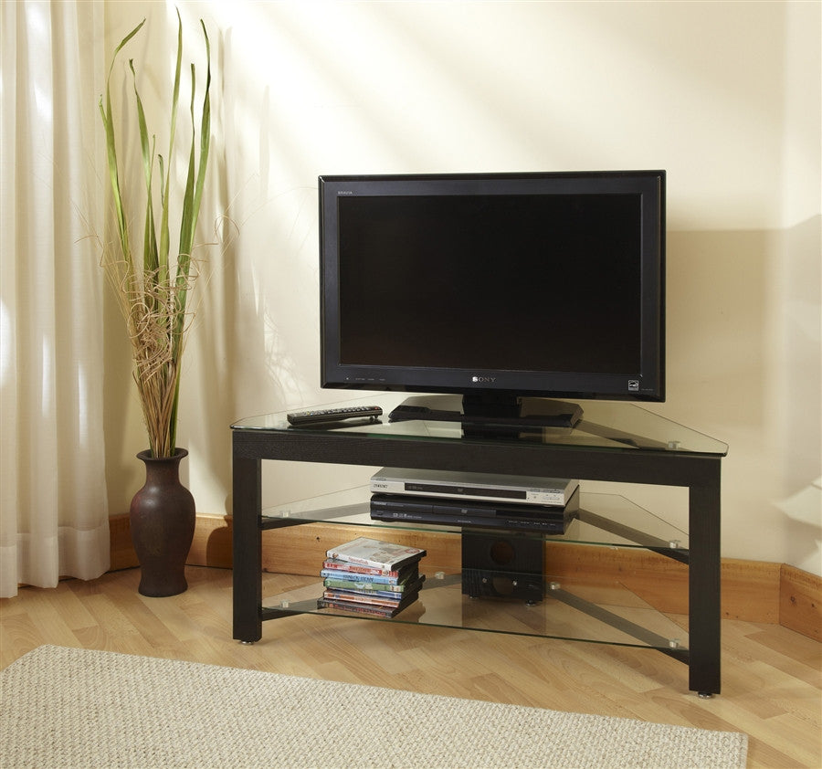 Black Wood & Clear Glass Corner Flat Screen TV Stand