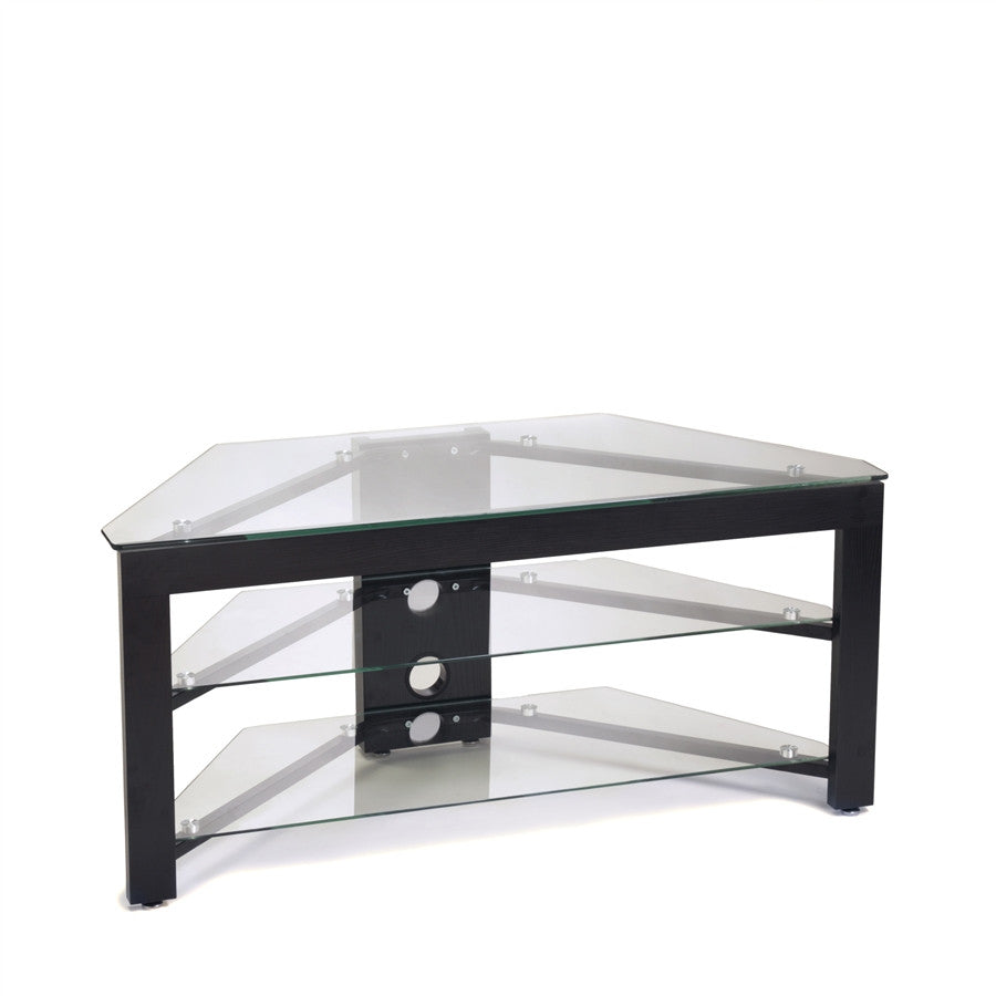 black wood u0026 clear glass corner flat screen tv stand