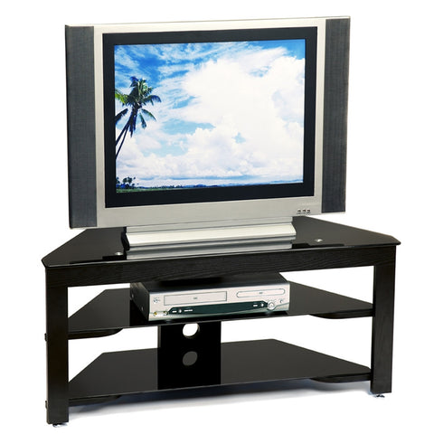 Black Wood & Black Glass Corner Flat Screen TV Stand