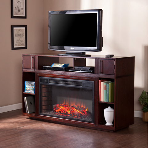 "Espresso 56"" Modern TV Stand with Integrated Electric Fireplace"