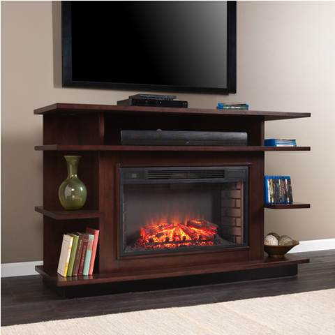 "Premium 63"" Espresso Modern TV Stand with Integrated Electric Fireplace"