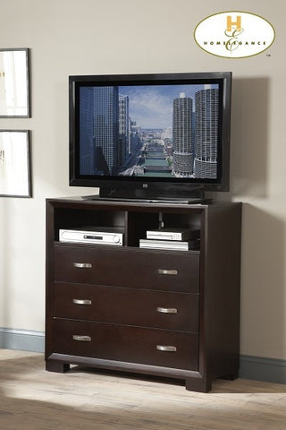 Astrid Collection Espresso & Chrome Bedroom Height Flat Screen Stand