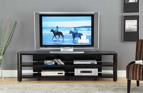 "73"" Modern Black Glass & Steel Flat Screen Stand"
