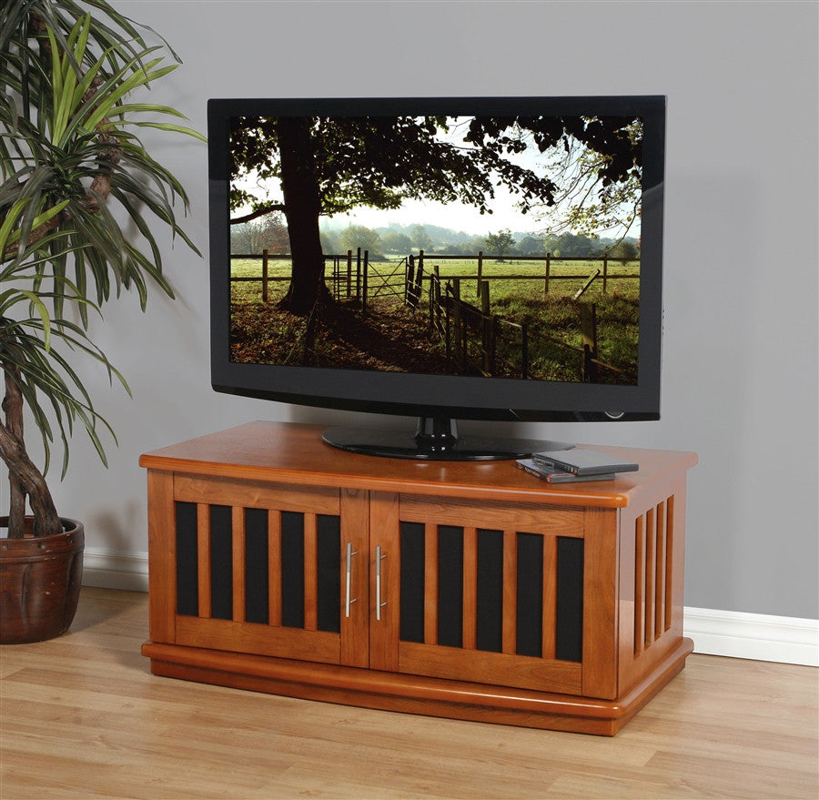 Premium Walnut TV Stand with Mesh Doors & Side Vents