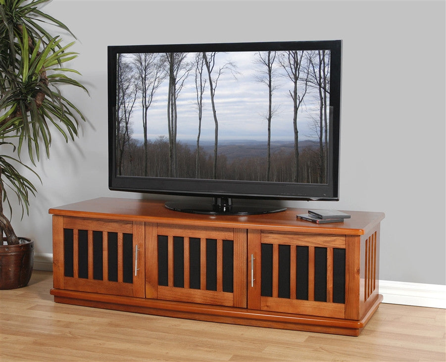 "Premium 62"" Walnut TV Stand with Mesh Doors & Side Vents"