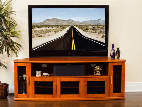 "Newport Collection 80"" Premium Walnut Flat Screen TV Stand"