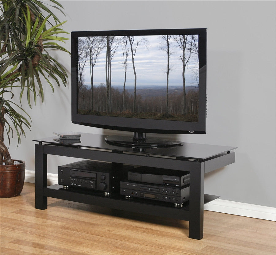"SL Collection 50"" Premium Black Glass Modern TV Stand"