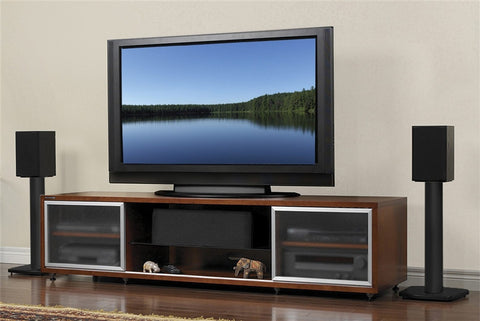 "SR Series 75"" Premium Modern Flat Screen Stand in Walnut"