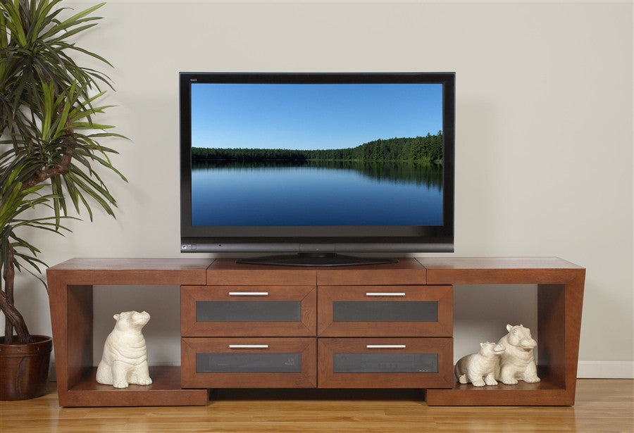 Premium Valencia Collection Extendable Modern Walnut TV Stand