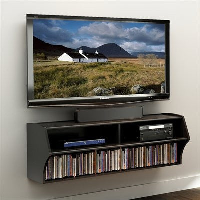 "48"" Black Wall Mounted Component / Media Stand"