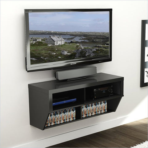 "42"" Black Wall Mounted Component / Media Stand"