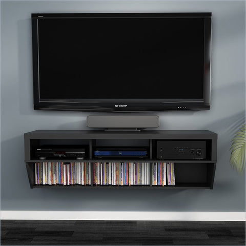 "58"" Black Wall Mounted Component / Media Stand"