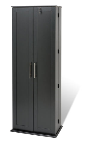 Black Extra Tall Locking Media Storage Cabinet