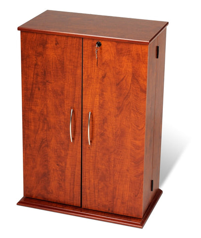 Cherry Locking Media Storage Cabinet